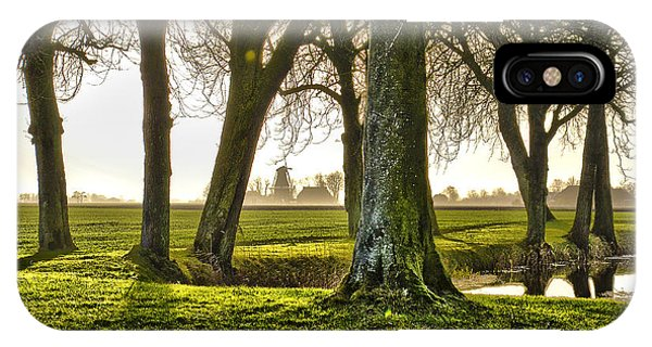 Windmill And Trees In Groningen IPhone Case