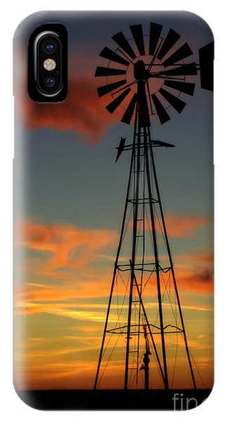 Windmill At Sunset 1 IPhone Case