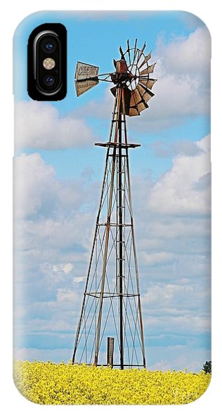 Windmill In Canola Field IPhone Case