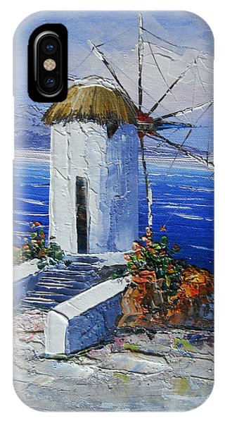 Windmill In Greece IPhone Case
