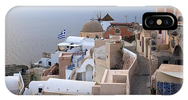 Windmill In Oia Santorini IPhone Case
