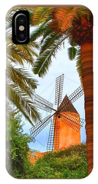 IPhone Case featuring the painting Windmill In Palma De Mallorca by Deborah Boyd