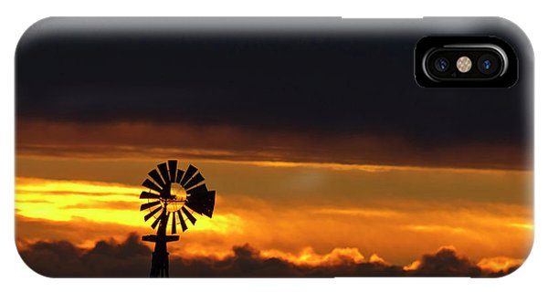 Nebraska iPhone Case - Windmill Silhouetted Against The Sunset by Chuck Haney