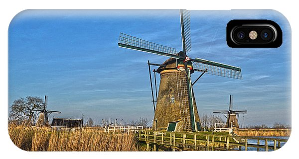 Windmills And Bridge Near Kinderdijk IPhone Case