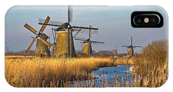 Windmills And Reeds Near Kinderdijk IPhone Case