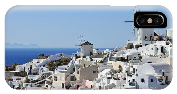 Windmills And White Houses In Oia IPhone Case