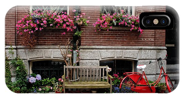 Window Box Bicycle And Bench  -- Amsterdam IPhone Case