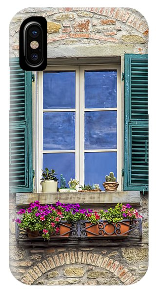 Window Of Tuscany With Green Wood Shutters IPhone Case