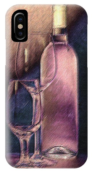 Light Paint iPhone Case - Wine Bottle With Glasses by Tom Mc Nemar