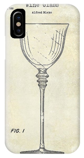 Cocktail iPhone Case - Wine Glass Patent Drawing by Jon Neidert