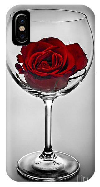 Inside iPhone Case - Wine Glass With Rose by Elena Elisseeva