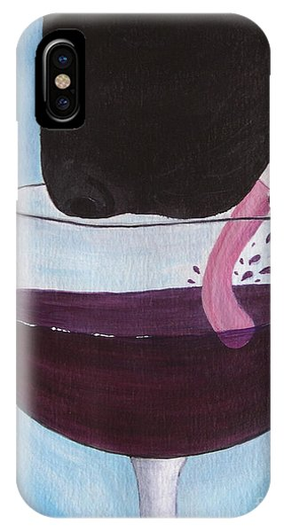 Wine Is Best Shared With Friends - Black Dog IPhone Case