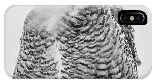 Winking Snowy Owl Black And White IPhone Case