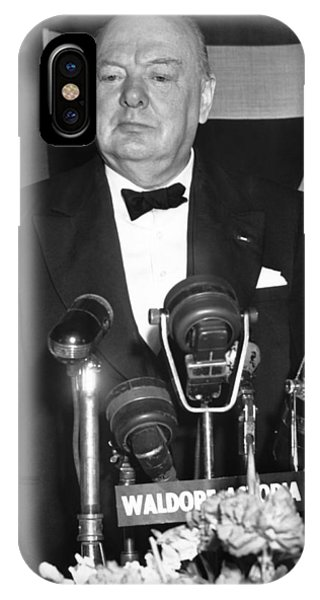 Prime Minister iPhone Case - Winston Churchill Speaks by Underwood Archives