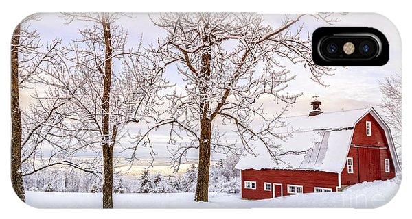 New England Barn iPhone Case - Winter Arrives by Edward Fielding
