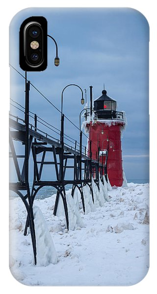 Winter At South Haven Lighthouse IPhone Case