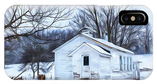 Winter At The Amish Schoolhouse IPhone Case