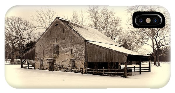Winter At The Horse Barn IPhone Case
