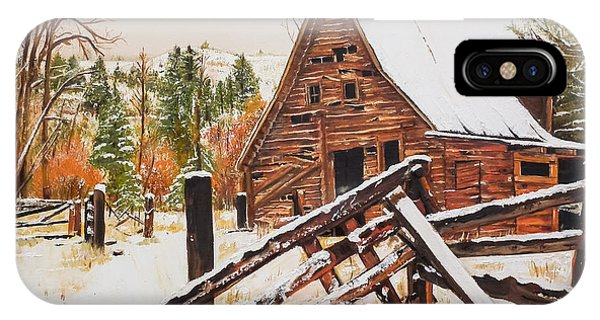 Barn Snow iPhone Case - Winter - Barn - Snow In Nevada by Jan Dappen