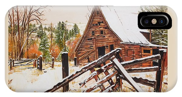Winter - Barn - Snow In Nevada IPhone Case