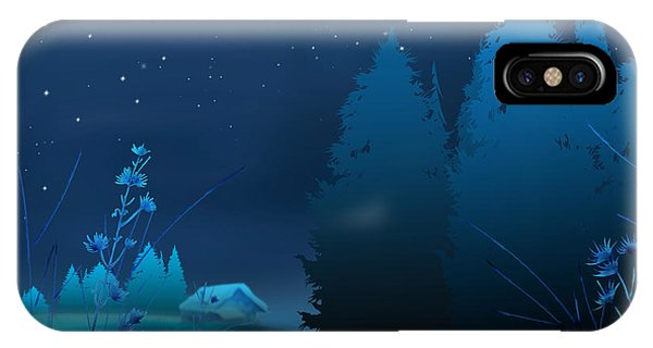 Shrub iPhone Case - Winter Blue Night by Peter Awax