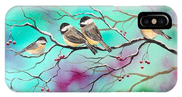 Winter Chickadees IPhone Case