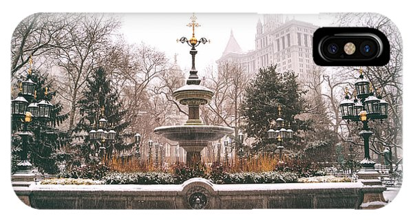 Winter - City Hall Fountain - New York City IPhone Case