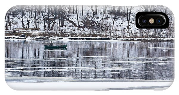 Winter Fishing - Wisconsin River IPhone Case