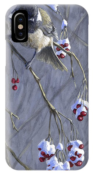 Winter Harvest 1 Chickadee Painting IPhone Case