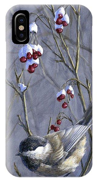 Winter Harvest 2 Chickadee Painting IPhone Case