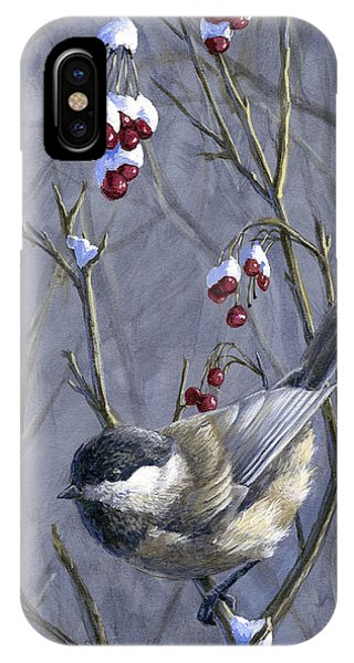 Winter Harvest 2 Chickadee Painting IPhone Case