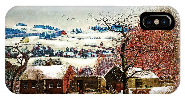 Winter In The Country Folk Art IPhone Case