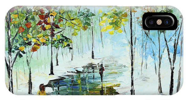 IPhone Case featuring the painting Winter In The Park by Kevin  Brown