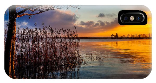 Winter Lake Sunset With A Tree Lighted In Red And Orange  IPhone Case