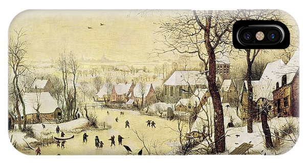 Winter Landscape With Skaters And A Bird Trap IPhone Case