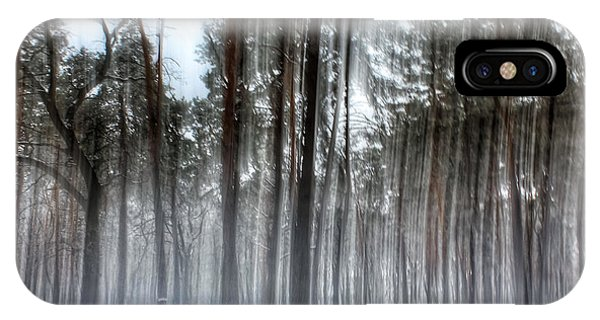 Winter Light In A Forest With Dancing Trees IPhone Case