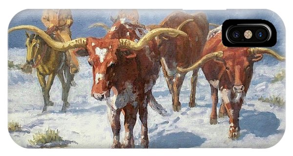 University iPhone Case - Winter Longhorns by Randy Follis