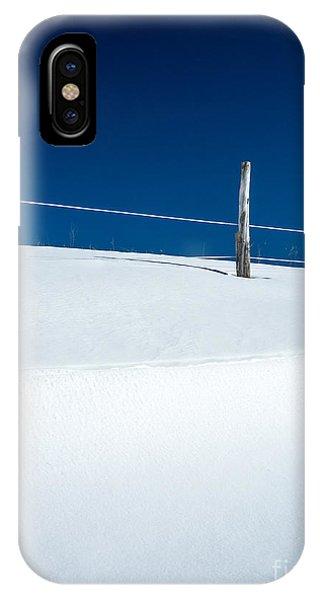 White Fence iPhone Case - Winter Minimalism by Edward Fielding