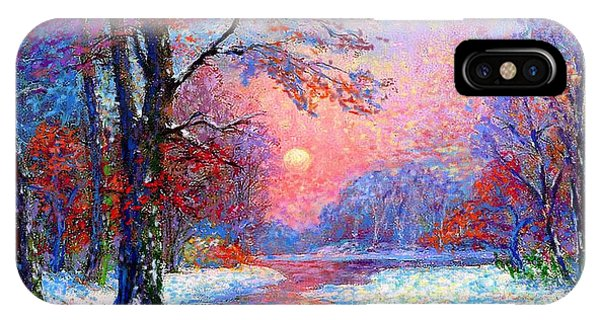 Colourful iPhone Case - Winter Nightfall, Snow Scene  by Jane Small