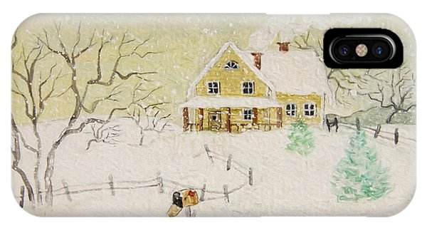 Winter Painting Of House With Mailbox/ Digitally Altered IPhone Case
