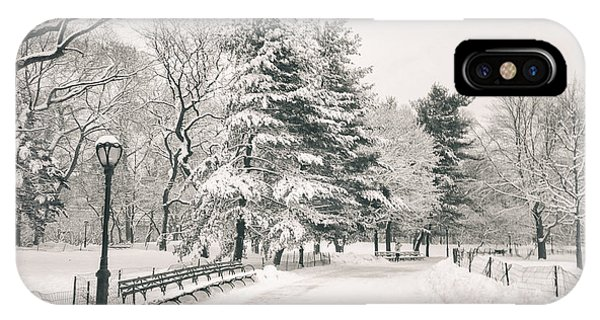 Winter Path - Snow Covered Trees In Central Park IPhone Case