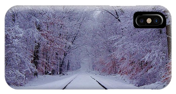 Train iPhone X Case - Winter Rails by Greg Kear