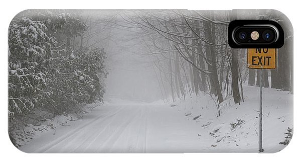 Snowy Road iPhone Case - Winter Road During Snow Storm by Elena Elisseeva
