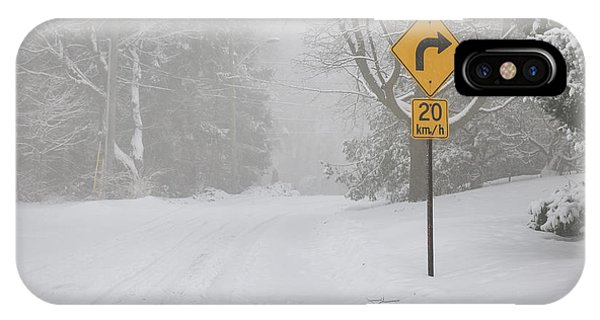 Snowy Road iPhone Case - Winter Road With Yellow Sign by Elena Elisseeva