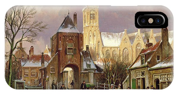 Cart iPhone Case - Winter Scene In Amsterdam by Willem Koekkoek