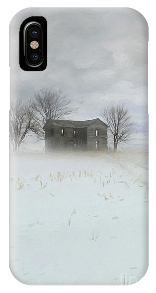 Winter Scene Of A Farmhouse/digital Painting IPhone Case