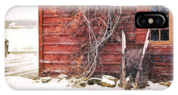 Winter Scene With Barn And Wheelbarrow/ Digital Painting  IPhone Case
