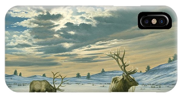 Bull iPhone Case - Winter Sky-elk   by Paul Krapf