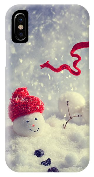 Knit Hat iPhone Case - Winter Snowman by Amanda Elwell
