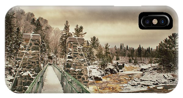 Winter Sunrise Over A Swinging Bridge IPhone Case